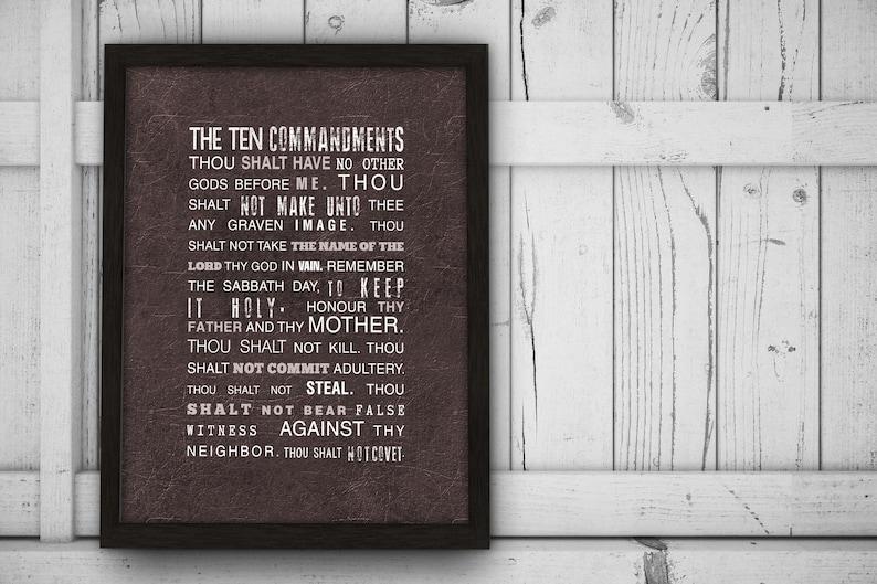 ingelijst 10 geboden exodus 20 art print christian wall decor | etsy