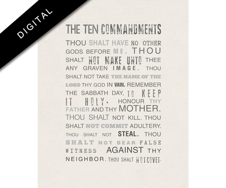 photograph about 10 Commandments Printable named Printable 10 commandments Artwork, Bible Verse Electronic Down load, Exodus 20 Poster, Scripture, Religous Artwork toward Print, Christian Wall Decor, Beige