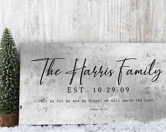 Christian Wedding Gift, Family Name Sign, As for Me and My House, Rustic Wedding Gift, Custom Name Sign, Gift for Couple, Wedding Gift