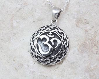 Silver om pendant etsy sterling silver om necklace choose your chain sterling silver om necklace yoga om meditation symbol pendant sterling silver om 214 aloadofball Image collections