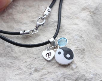cfbcbc16d9 Sterling Silver Yin Yang Necklace. choose your chain, silver yin yang  Pendant with 2 Personalized charms, Yoga yin yang charm jewelry