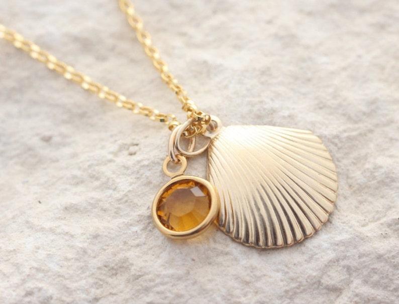 gold seashell Gold  seashell necklace choose birthstone Gold sea shell Necklace gold filled seashell necklace protection necklace