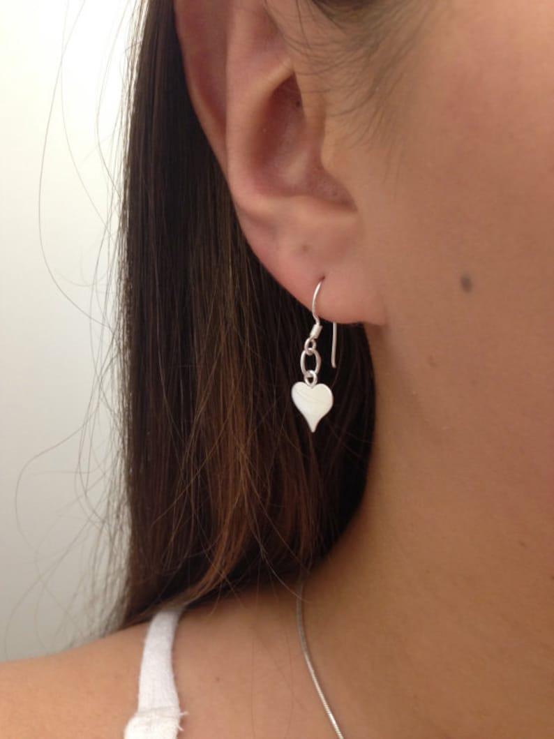 Sterling Silver Lightweight Earrings Silver Heart Earrings heart earrings Jewelry silver dangle earrings Silver Flat Heart Earrings