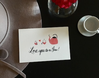 Love you to a Tea, Watercolor postcard, pack of 3, Friendship postcard