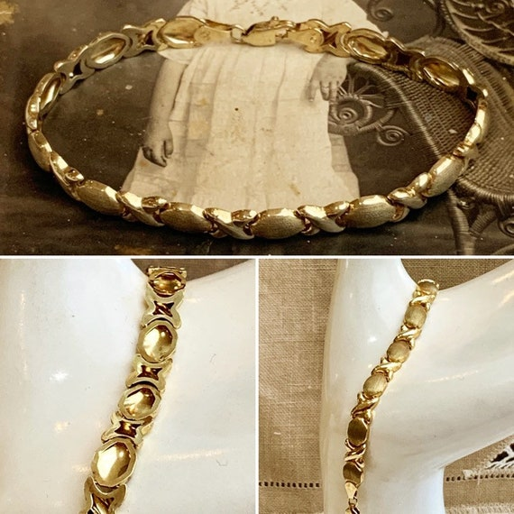 """4.70Grams 7 mm 7/"""" Lady/'s 10k Yellow REAL Gold XO Hearts and Kisses Bracelet"""