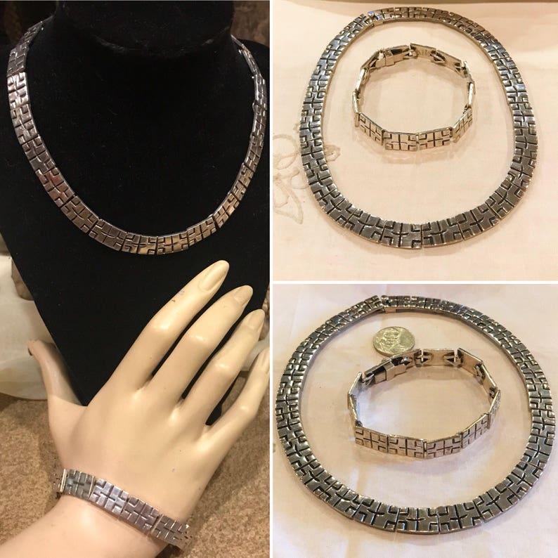 Taxco Mexico Artisan Overlay panel link necklace /& bracelet set   1980/'s Modernist Sterling silver statement necklace and bracelet   118.7gr