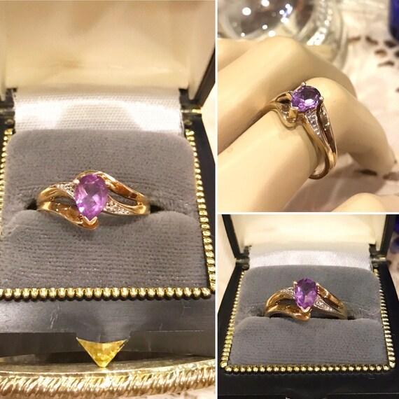 Vintage 10k two tone gold purple Amethyst /& diamond crossover ring   Sz 6   10k yellowwhite gold tear drop Amethyst diamond ring stamped AU