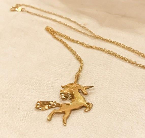 14k Yellow Gold Diamond Cut Satin Finish Unicorn Pendant Necklace