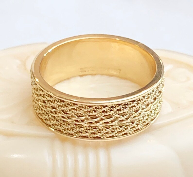 686773598097b 14k ArtCarved yellow gold textured wedding band, 14k gold triple rope  textured band, 7mm Wide, Unisex gold stacking band, 4.2 grams