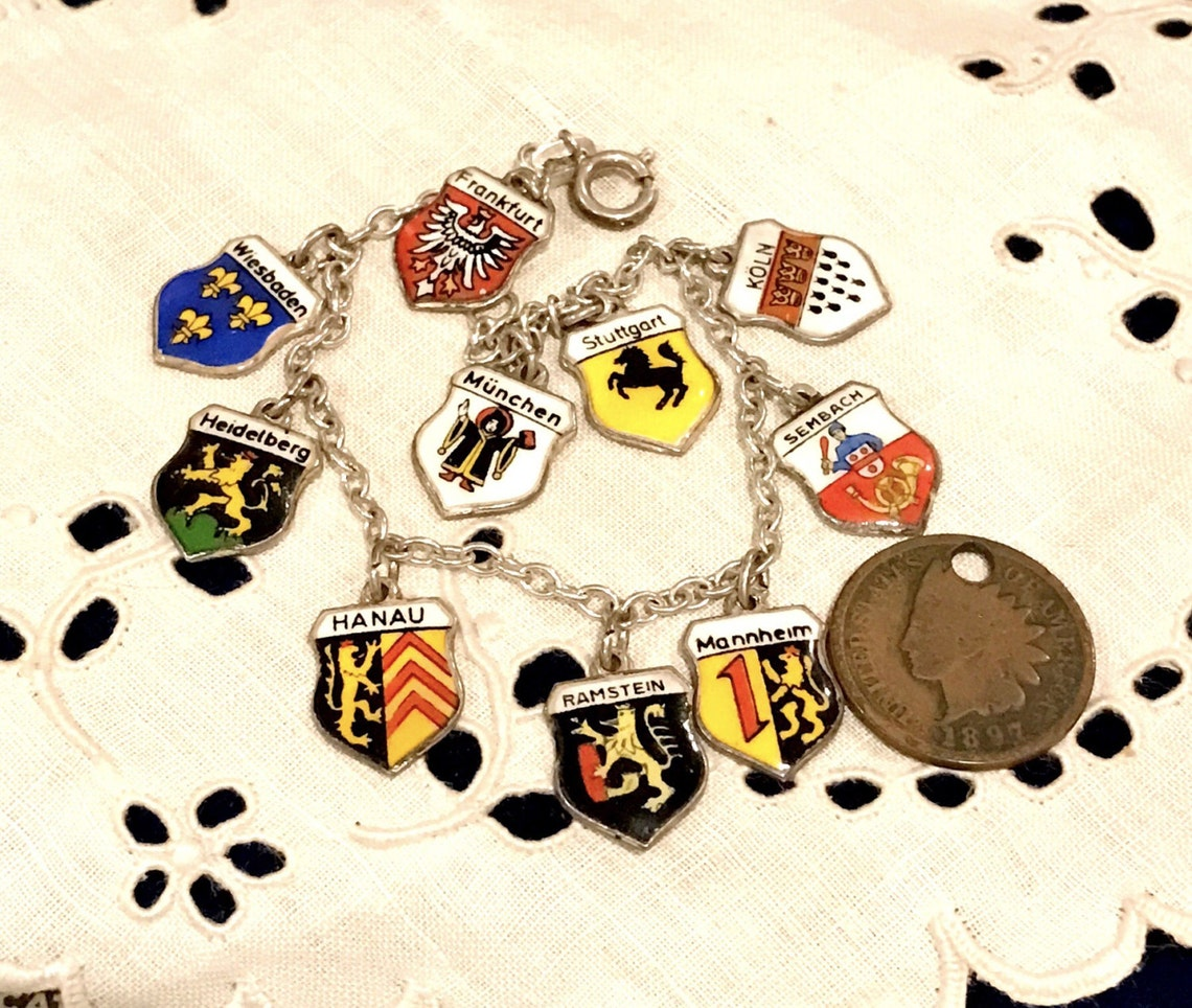 1960's Rolo Link German Travel Enamel Shields Charm Bracelet, ANTIKO 800 SILVER Ten Charm German Shields Travel Bracelet, 7