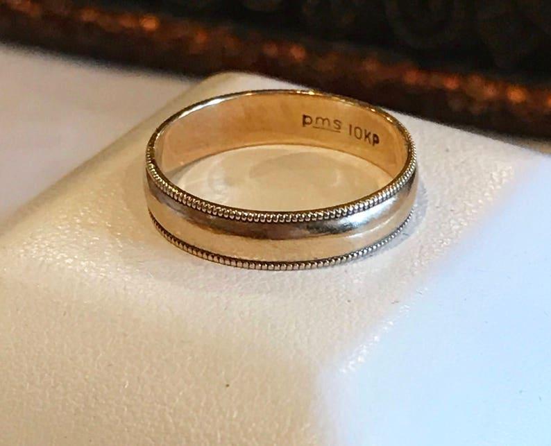 Vintage 10k Plumb Yellow Gold Milgrain Edged Wedding Band Ring Etsy