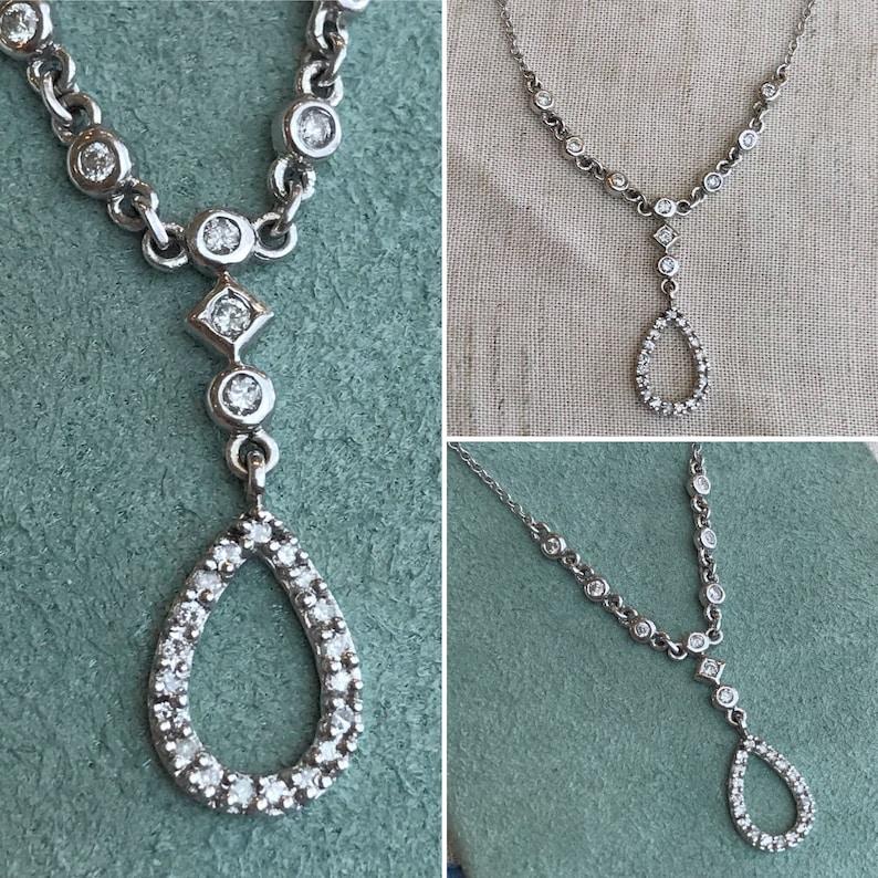 Femmes Or Blanc Finition Diamant Trois Pierre Fleur Cluster Bridal Ring Set .45 C