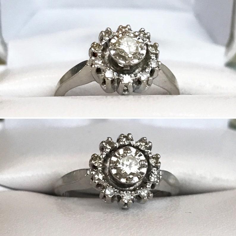 6921d5f9626e6 1950's JEWELS OF JOY 14K White Gold Round Diamond Halo style Engagement  Ring, 14k Round Diamond Cluster Ring, Sz 6, .45 ctw,