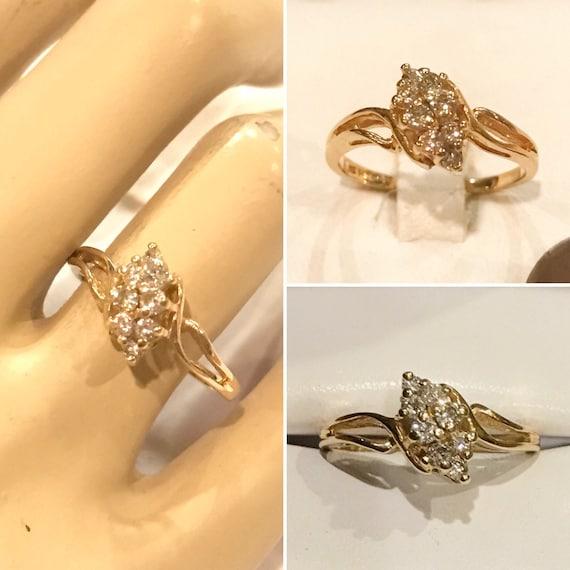 204eca80e28ba Vintage 14K Yellow gold .25 ctw Round Brilliant cut Diamond Waterfall  Cluster Cocktail Ring 14K SMG gold split shank diamond cluster ring