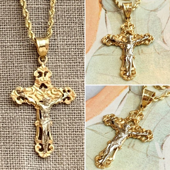 plated INRI Crucifix Pendant Sterling Silver /& 24k Gold