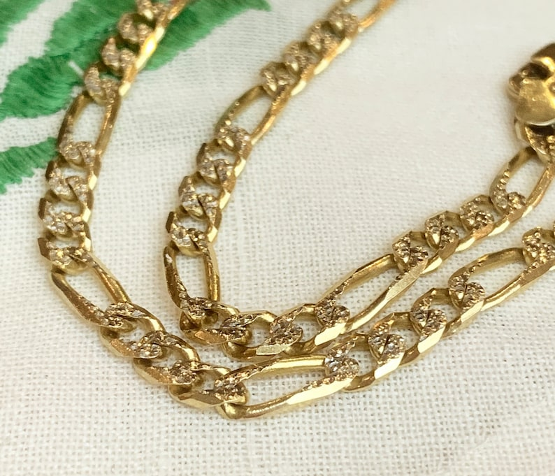 4664d796c843 Italian 14K Yellow   White Solid Gold Figaro Link Chain