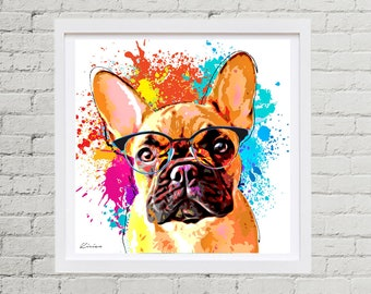 French Bulldog Pet Portrait, Custom Dog Pop Art - Personalized Frenchie Digital Pet Painting from Photo - Pet Memorial- Dog Lover Gift