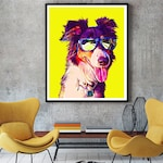 Custom Pet Portrait, Custom Border Collie Pop Art, Gift for Dog Lover, Funny Dog Art