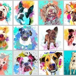 Custom Pet Portrait, Watercolor Splash Style Painting, Pop Art, Painting from Photo, Graffiti Style Personalized Portrait, Pet Memorial Gift