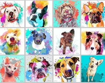 Custom Pet Portrait, Watercolor Splash Style Painting, Pop Art, Painting from Photo, Graffiti Style Personalized Portrait, Pet Memorial Gift