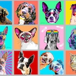 Custom Pet Portrait, Custom Border Collie Pop Art, Gift for Dog Lover, Funny Dog Art, Cat Portrait, Gift for Her, Gift for Him, Pet Memorial