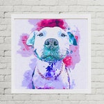 Custom Watercolor Pet Portrait, Pitbull Art, Pitbull Watercolor Painting, Personalized Watercolor Art, Wall Decor, Dog Lover, Dog Mom Gift