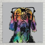 Custom Pet Portrait on Canvas, Dog Pop Art Portrait, Digital Pet Painting, Gift for Dog Lover, Weimaraner Art, Large Canvas Wall Decor