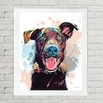 Black Labrador Retriever Pet Portrait, Custom Dog Pop Art - Personalized Black Lab Pet Painting from Photo - Pet Memorial- Dog Lover Gift,