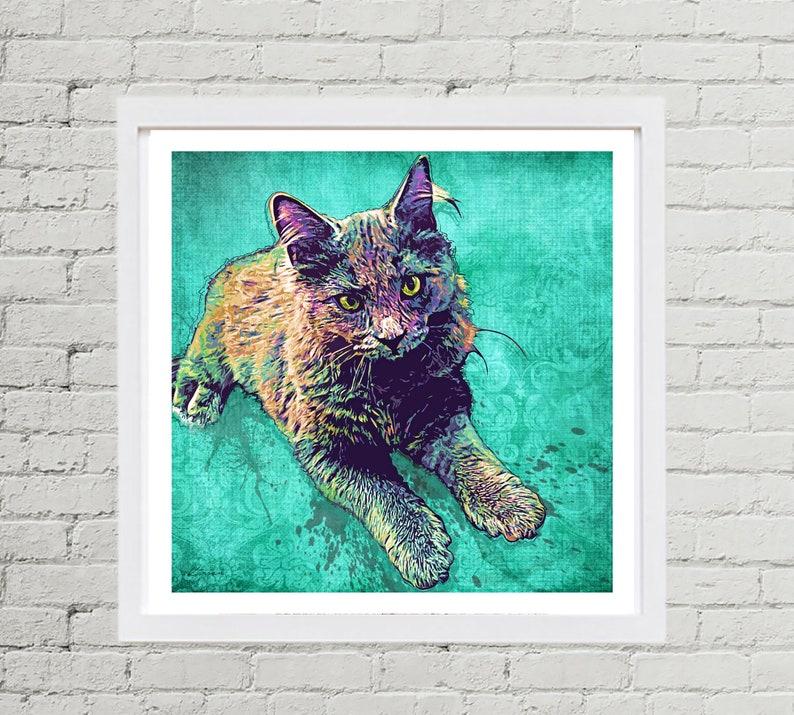 Cat Portrait Custom Cat Pop Art Custom Pet Portrait from image 0