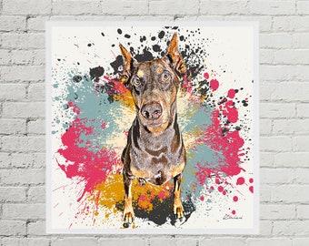 Custom Pet Portrait from Photo, Modern Dog Art, Graffiti Style Paint Splash Art on Canvas or Print, Pet Memorial, Doberman Painting Custom