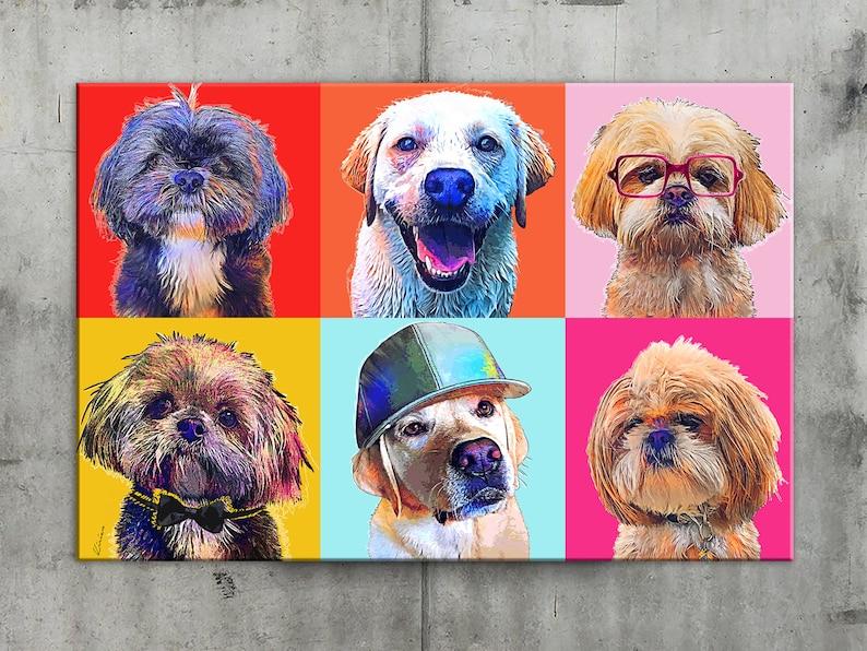 Custom POP Art Pet Portrait Andy Warhol Style POP Art Canvas image 0