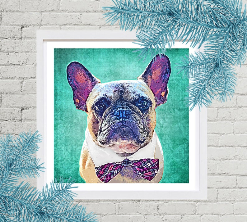 Christmas Gift Idea Custom Pet Portrait French Bulldog image 0