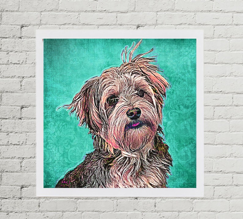 Custom Yorkie Pet Portrait Custom Dog Custom Pet Portrait image 0