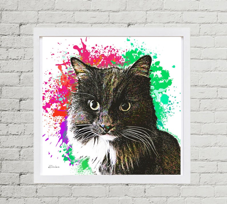 Custom Cat Portrait Personalized Pet Painting of Cat Cat image 0