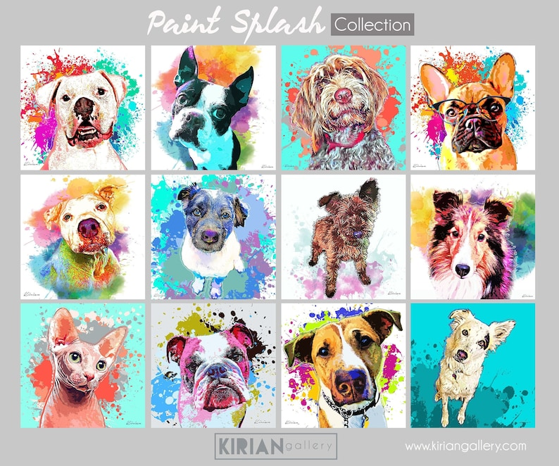 Custom Pet Portrait Watercolor Splash Style Painting Pop image 0