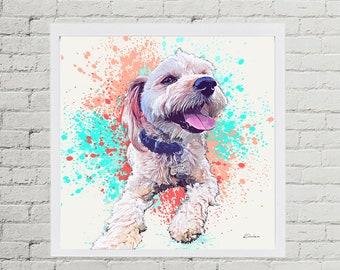 Custom Pet Portrait, Watercolor Splash Style Art - Personalized Terrier Digital Pet Painting from Photo - Pet Memorial- Dog Lover Gift