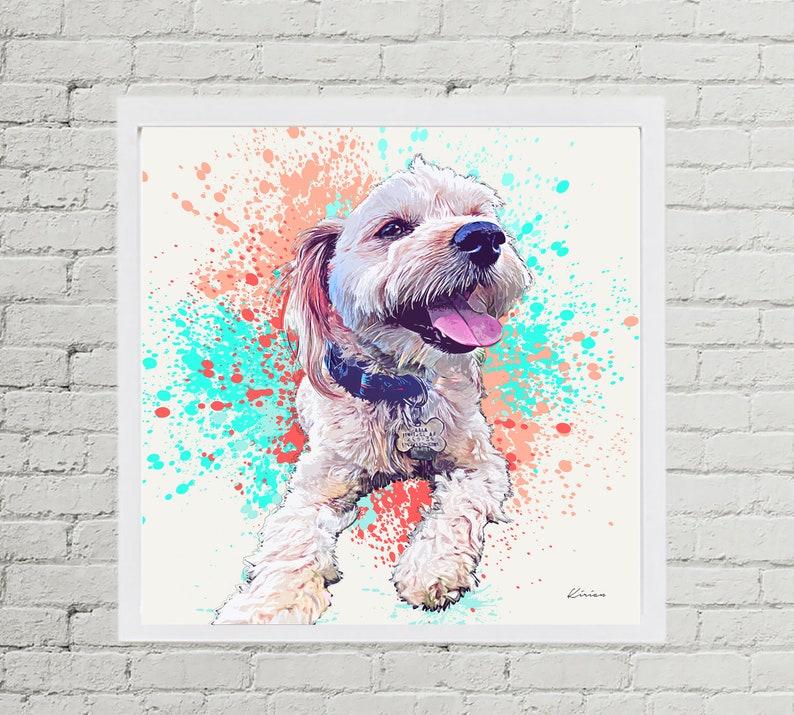 Custom Pet Portrait Watercolor Splash Style Art  image 0