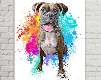 Pet Portrait Custom | Portrait Pet Dog Custom Art | Dog Custom Painting | Custom Pet  | Personalize Pet Gift | Rainbow Dog Portrait | Boxer