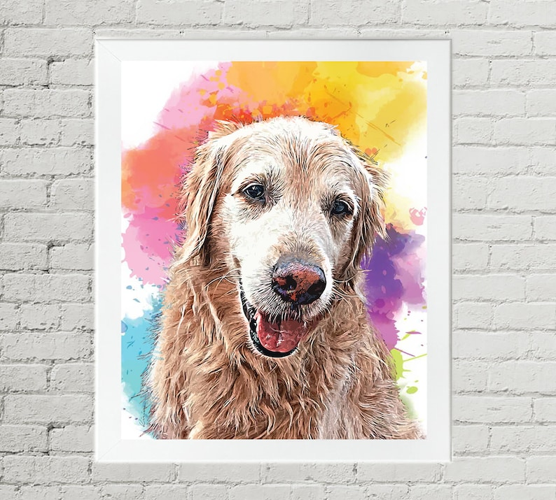 Pet Memorial Gift Golden Retriever Watercolor Style Painting image 0