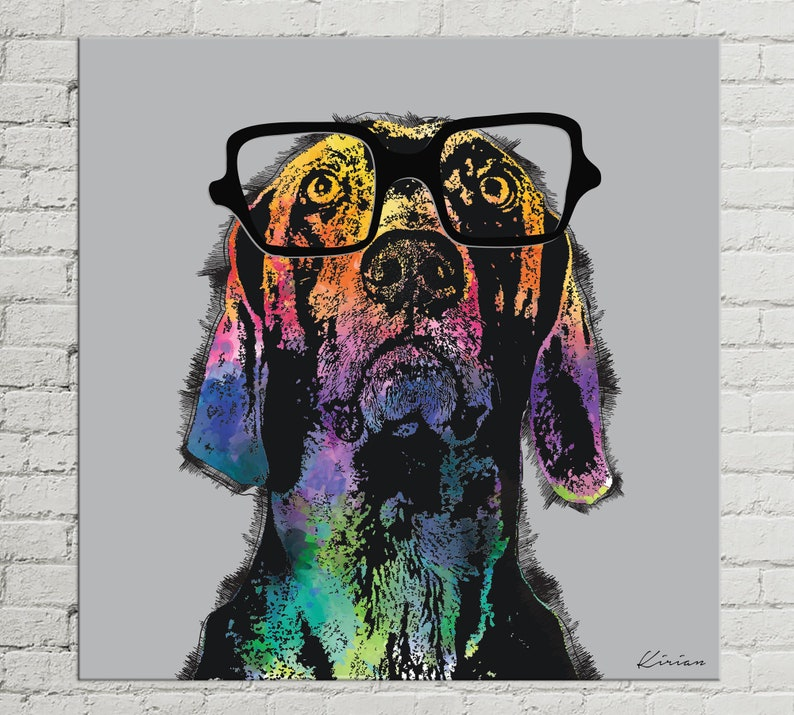 Custom Pet Portrait on Canvas Dog Pop Art Portrait Digital image 0