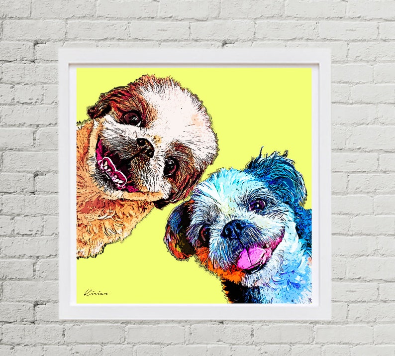 POP Art Pet Portrait Custom Shih Tzu Art Personalized Pet image 0