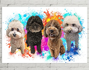 Multi Pet Portrait | Custom Dog Painting | Custom Pet Canvas | Pet Memorial | Modern Pet Canvas | Pet Portrait Custom | Portrait from Photo