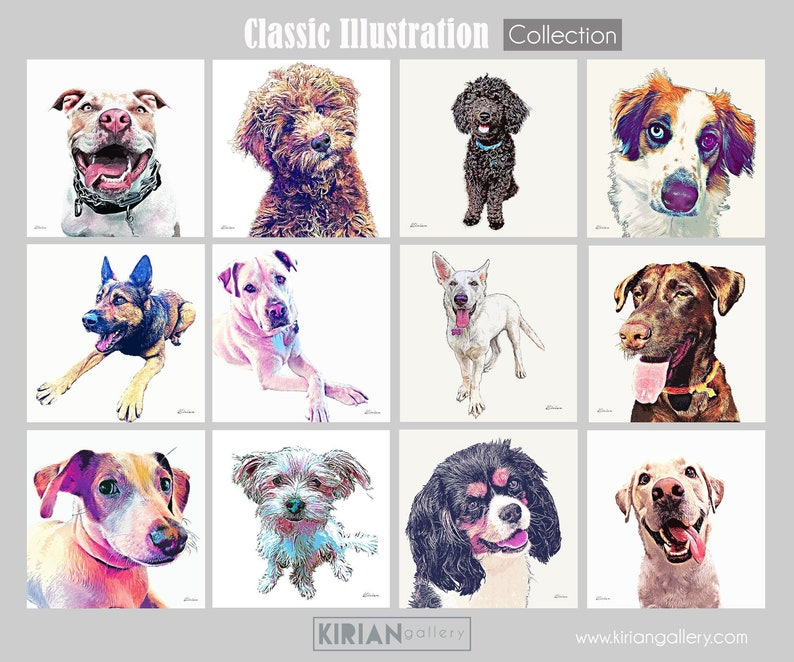 Custom Pet Drawing Pet Portrait Illustration Classic Style image 0
