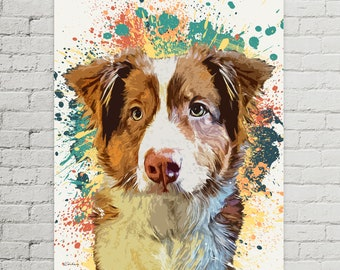 Dog Portrait Custom Painting from Photo |  Custom Canvas | Australian Shepherd Painting | Art Commission | Unique Pet Gift | Pet Memorial