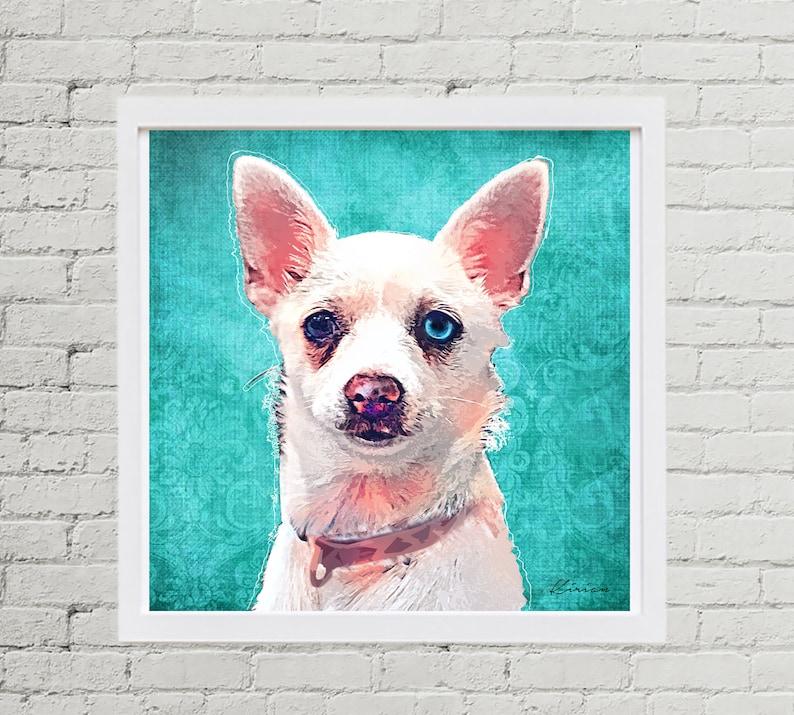 Chihuahua Pet Portrait Custom Dog Pop Art Custom Pet image 0