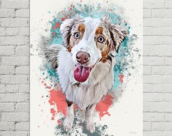Pet Portrait Canvas, Custom Pet Canvas, Portrait from Photo, Dog Painting Canvas, Pet Portrait Canvas, Pet Painting Canvas, Large Canvas