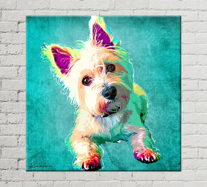 Custom Pet Portrait on Canvas Customized Dog Pop Art image 0