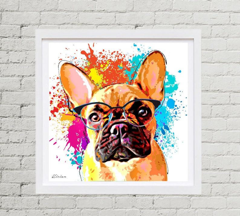 French Bulldog Pet Portrait Custom Dog Pop Art  Personalized image 0