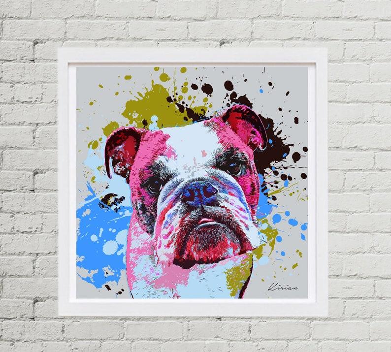 English Bulldog Pet Portrait Custom Dog Pop Art  image 0