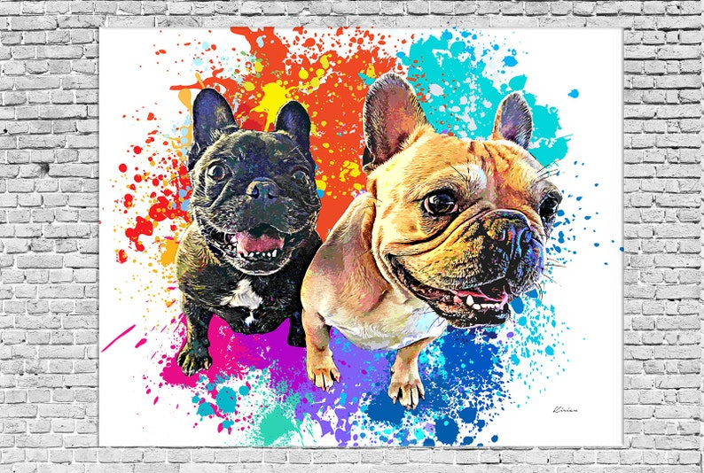 French Bulldog Custom Pet Portrait on CANVAS Personalized image 0